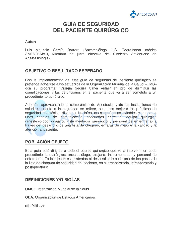 Circuito Quirurgico : Guía de seguridad del paciente quirúrgico by fedsalud federación