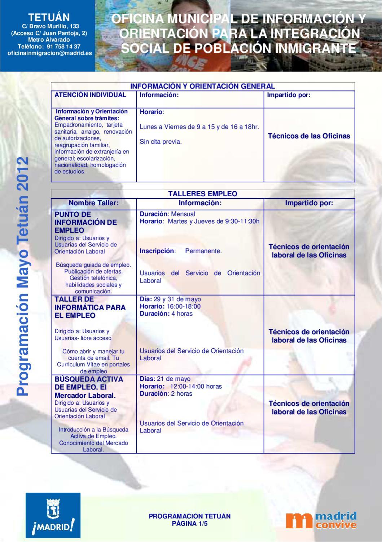 Programaci n mayo tetuan by oficina de informacion juvenil chamartin issuu - Oficina de empadronamiento madrid ...