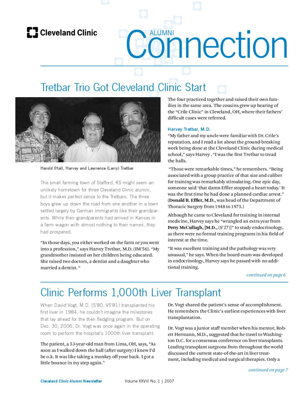 Cleveland Clinic Alumni Connection - Vol XXVIII No  1 - 2007