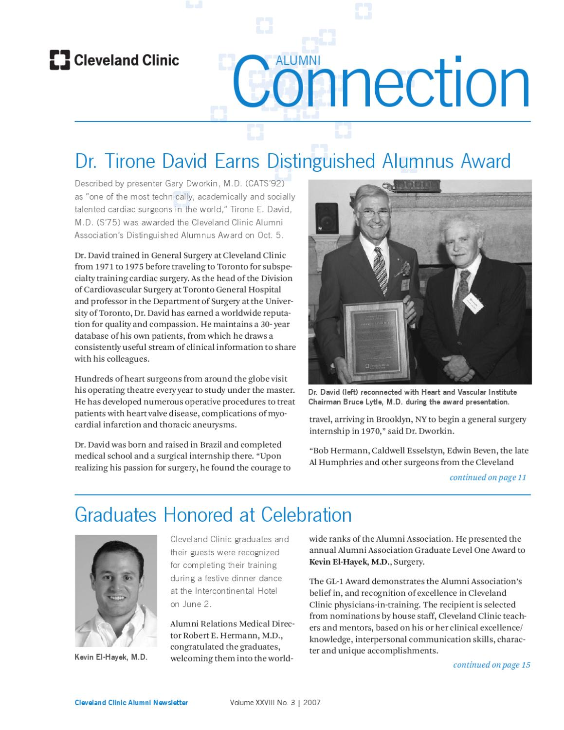 Cleveland Clinic Alumni Connection - Vol XXVIII No  3 - 2007