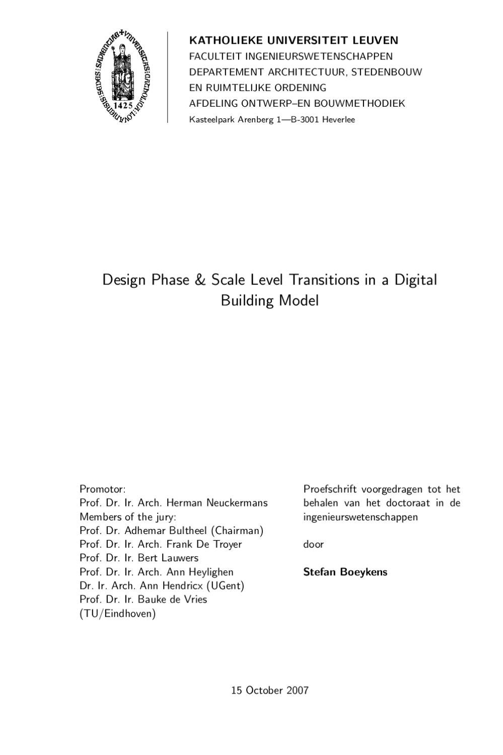 Design Phase and Scale Level Transitions in a Digital