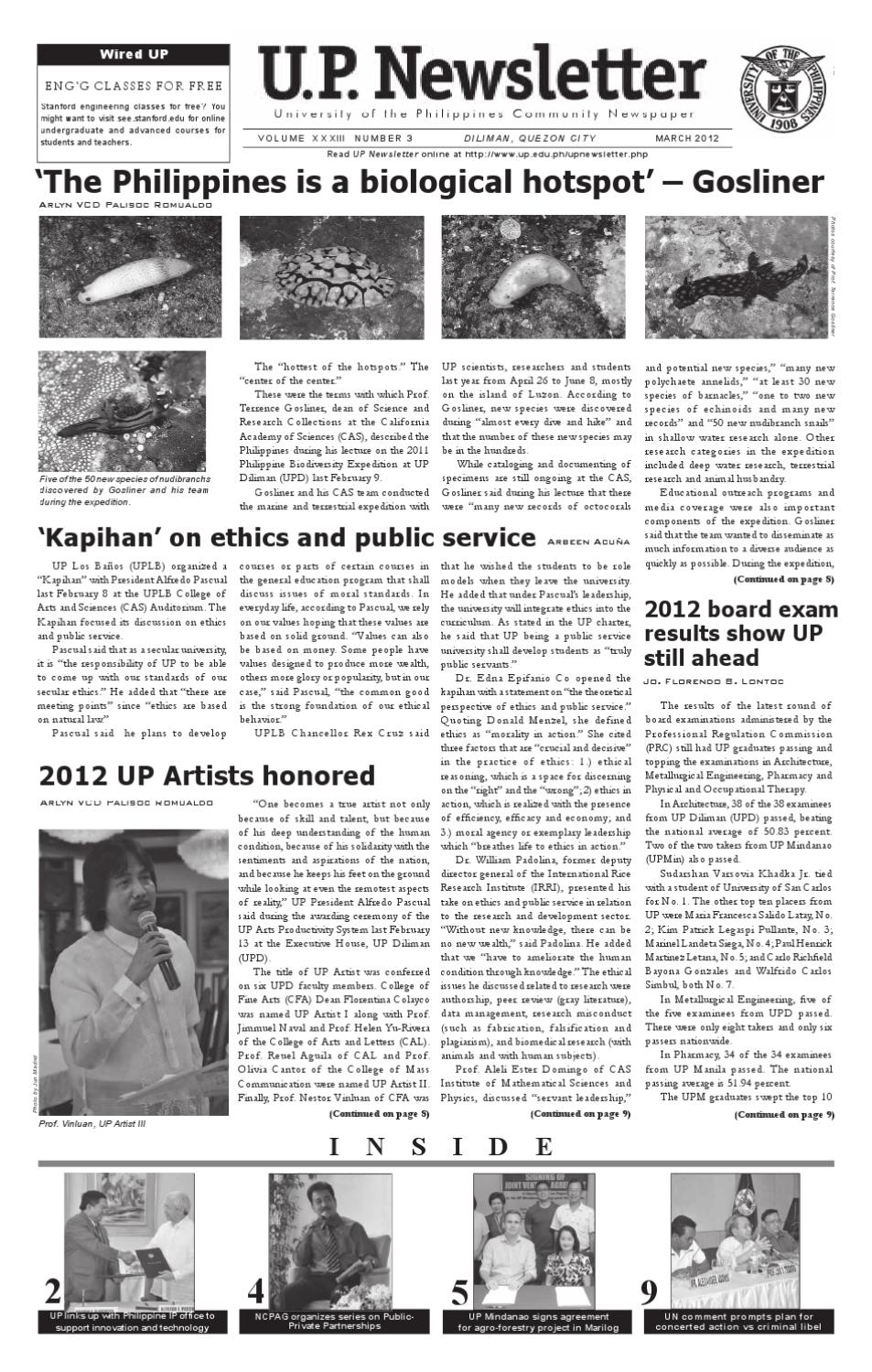 UP Newsletter March 2012 by University of the Philippines