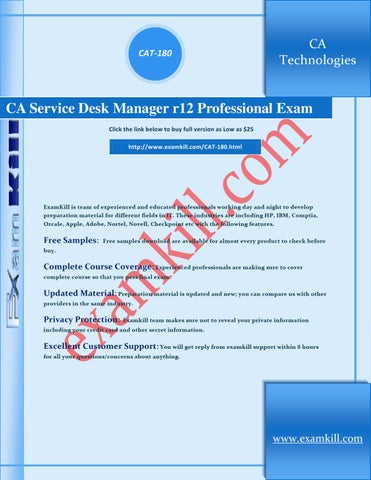 Page 1. CAT 180. CA Technologies. CA Service Desk Manager ...