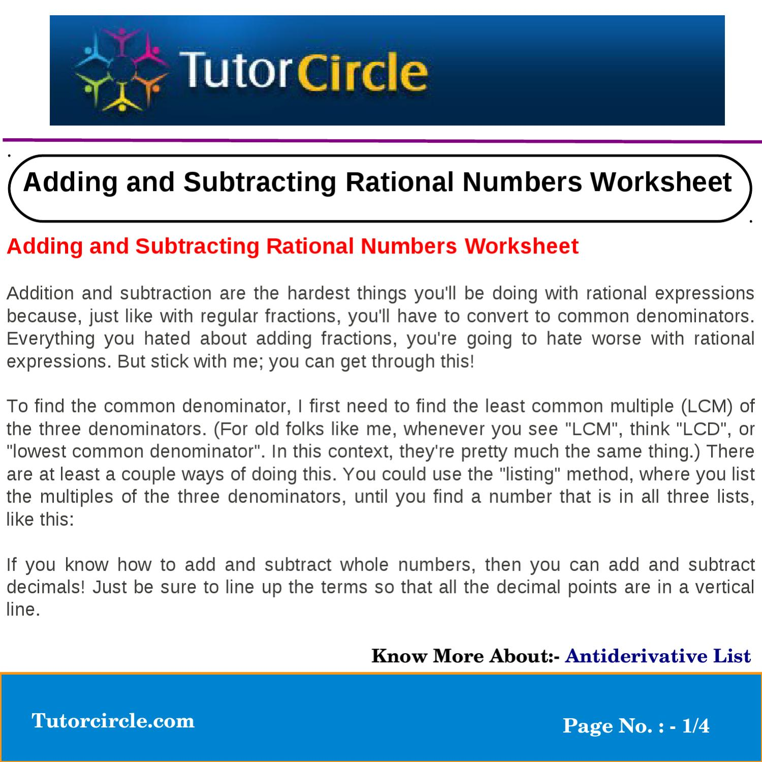 Adding and Subtracting Rational Numbers Worksheet by tutorcircle – Antiderivative Worksheet