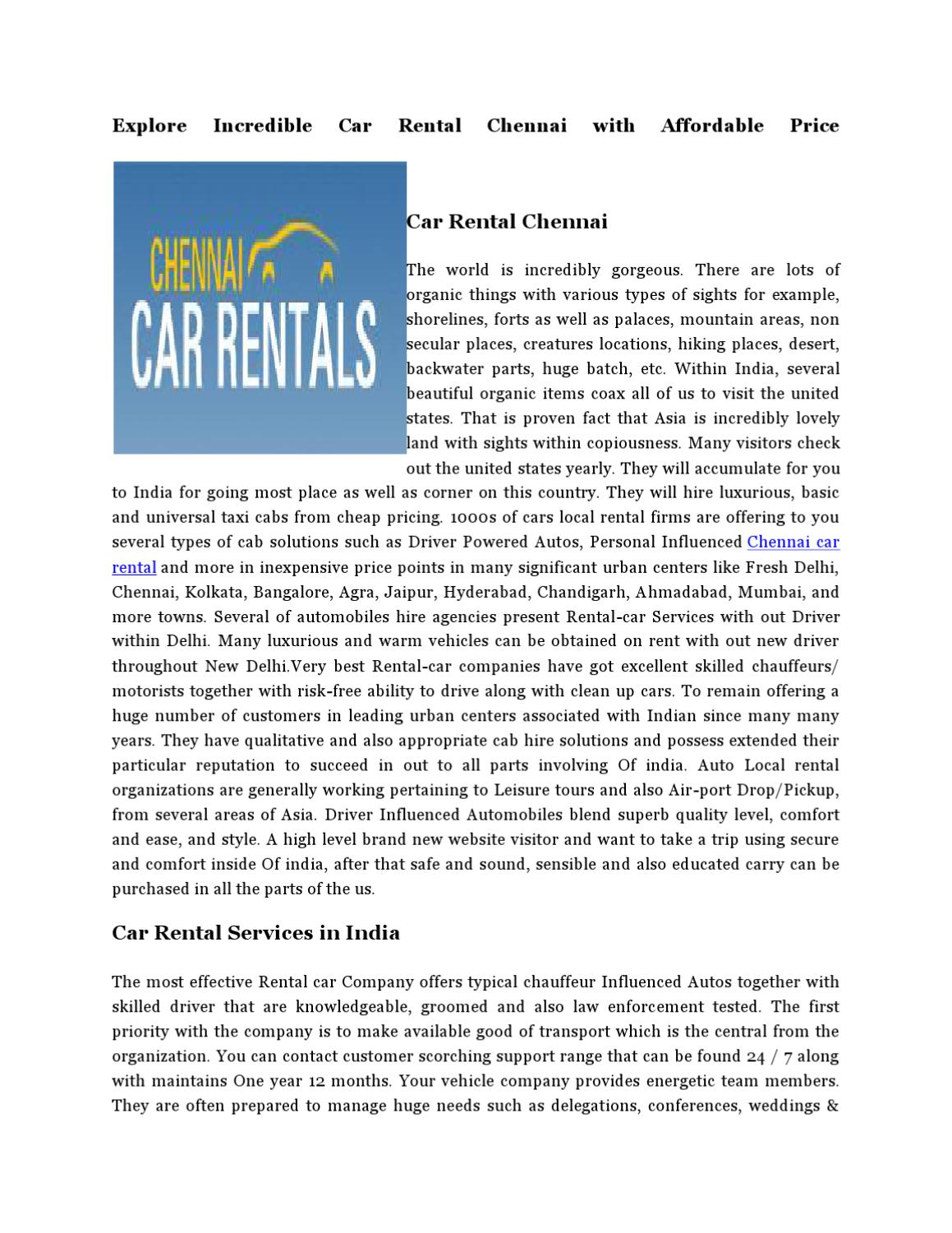 Car Rental Hyderabad With Driver >> Economy and Luxury Cabs on Rental in Chennai by Henry saran - Issuu