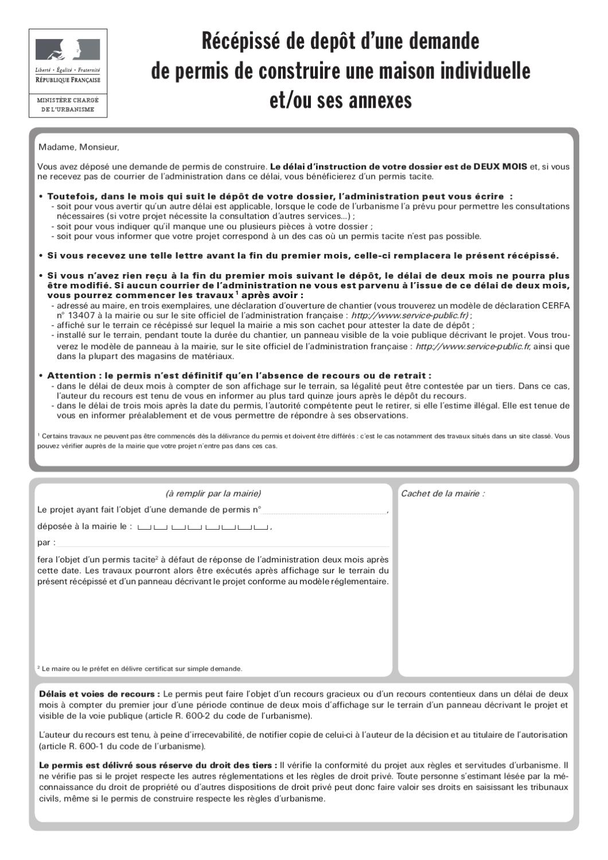 Demande de permis de construire maison individuelle by for Demande de permis de construire modificatif