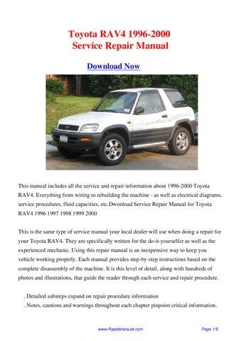 Toyota RAV4 1996-2000 Service Repair Manual by Hong Lee - issuu on