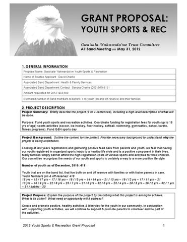 youth sports photography templates - 2012 gn trust youth sports and rec grant proposal 2012 by