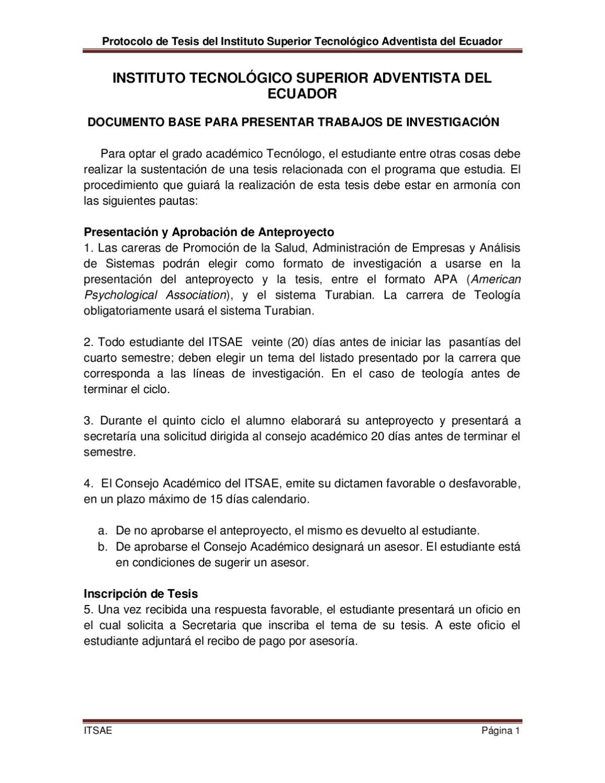 Protocolo de tesis by Edgar Larco - issuu