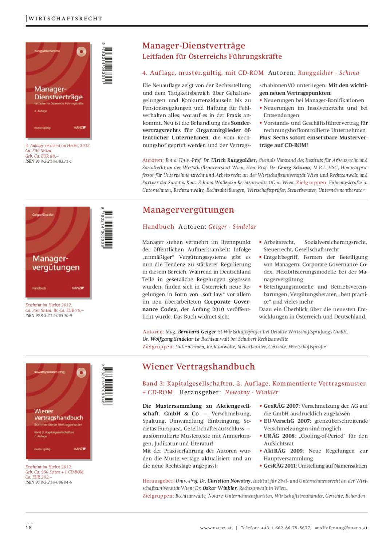 Werkvorschau Sommerherbst 2012 By Manzsche Verlags U