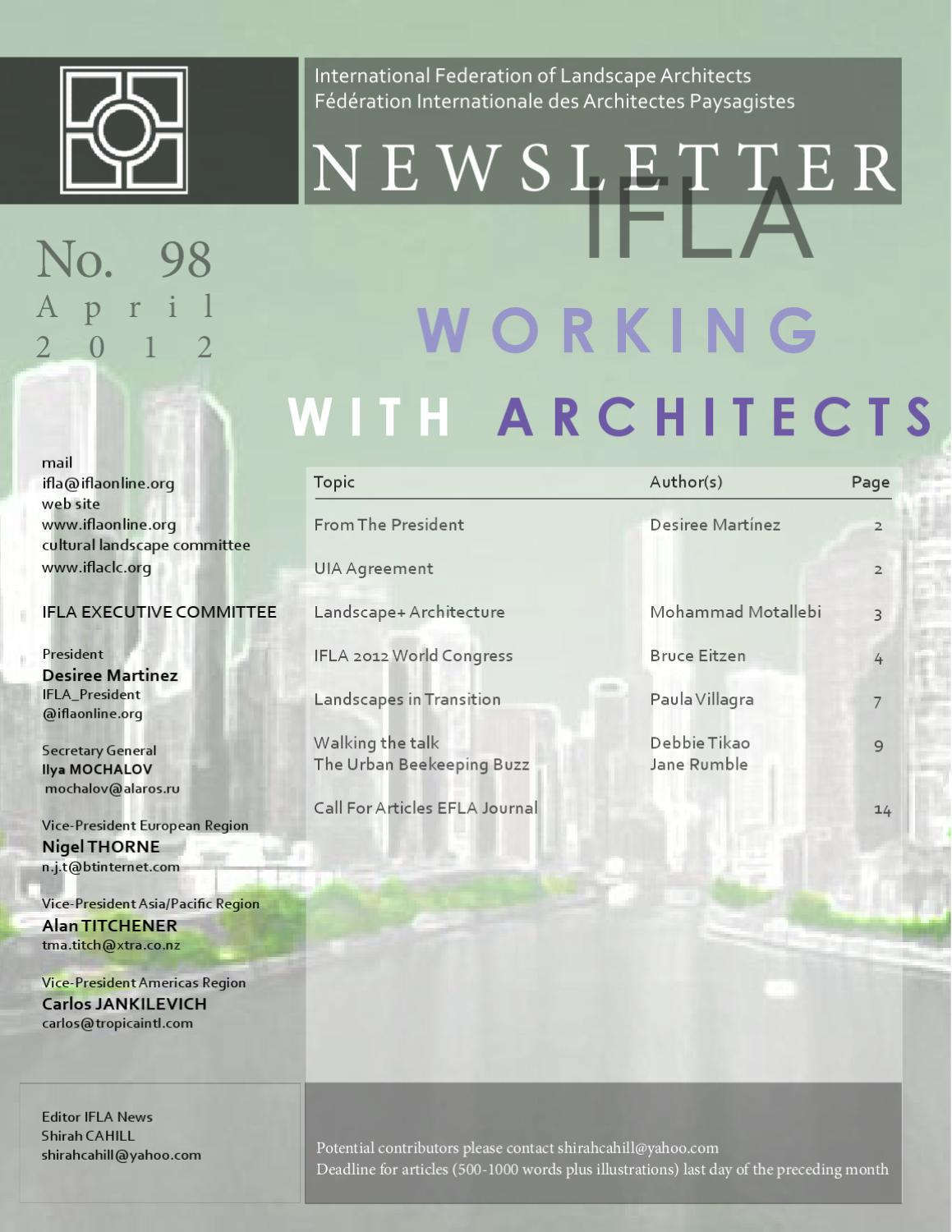 Working with architects by international federation of for International federation of landscape architects