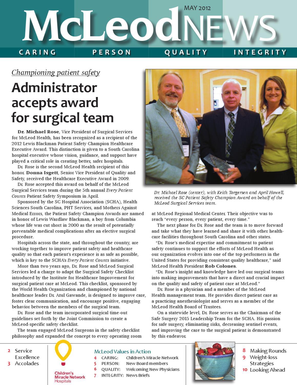 McLeod News -- May 2012 by McLeod Health - issuu