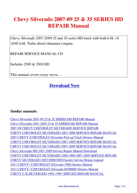 Chevy Silverado Repair Manual PDF