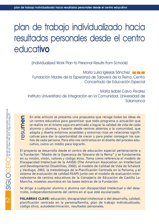 plan de trabajo individualizado hacia resultados personales desde el ...