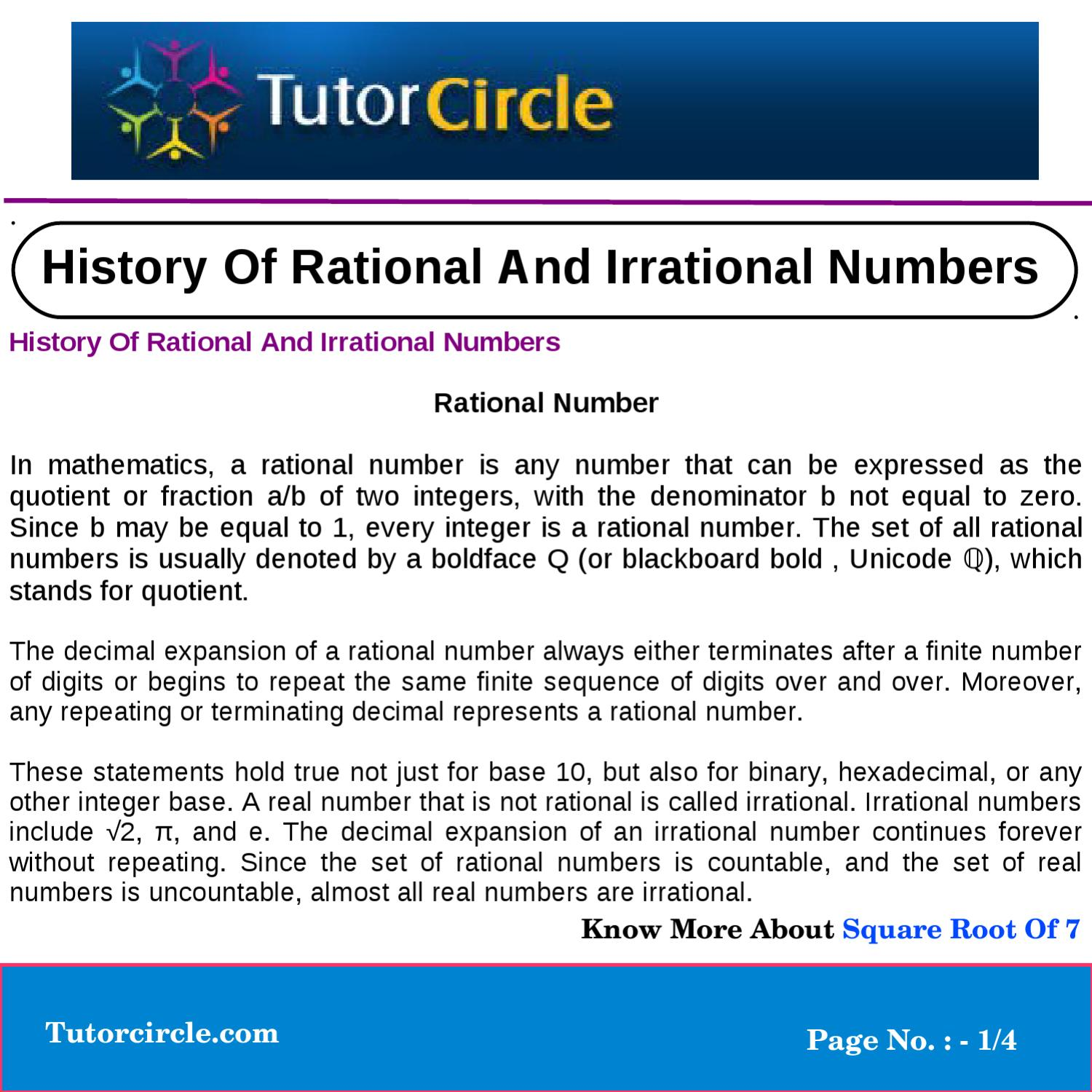 History Of Rational And Irrational Numbers By Yatendra Parashar Issuu