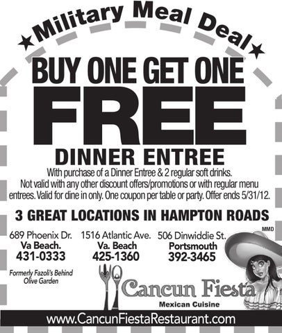 Cancun fiesta meal deal by military news issuu for Does olive garden give military discount
