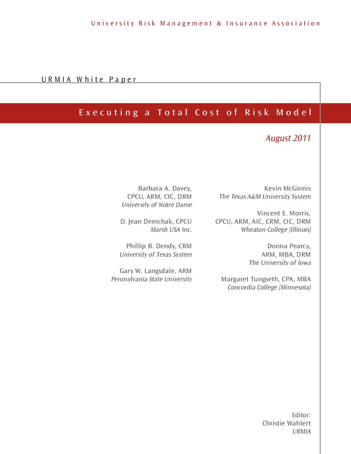 worksheet Total Cost Of Risk Worksheet urmia white paper executing a total cost of risk model by issuu