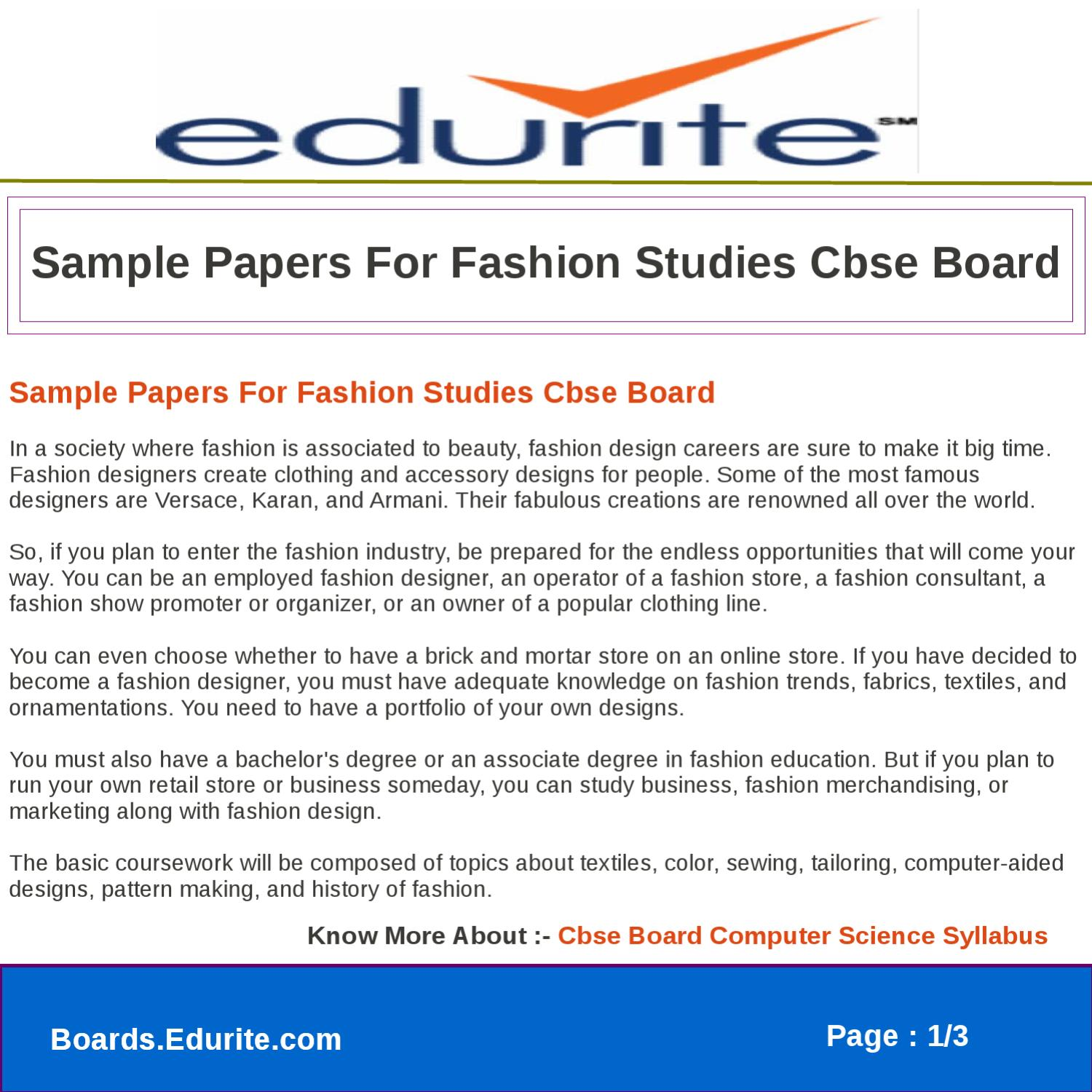 Sample Papers For Fashion Studies Cbse Board By Deepak Sharma Issuu
