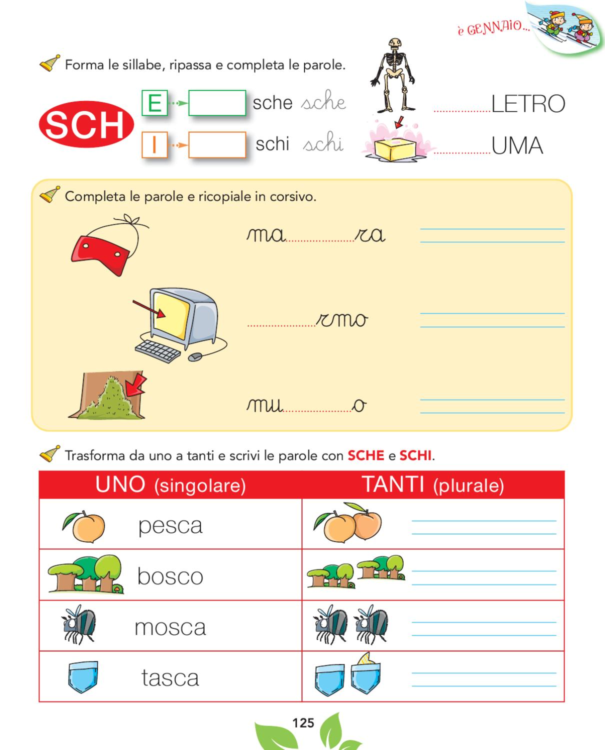Olmo 1a metodo by elvira ussia issuu for Parole con sche e schi