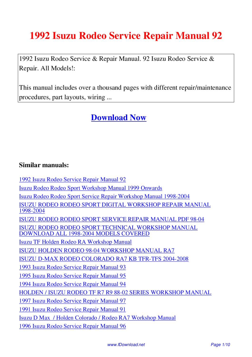 1992 Isuzu Rodeo Service Repair Manual 92 By Giler Kong