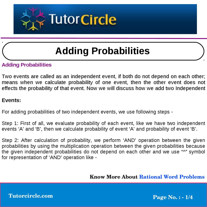 Adding Probabilities by yatendra parashar - issuu