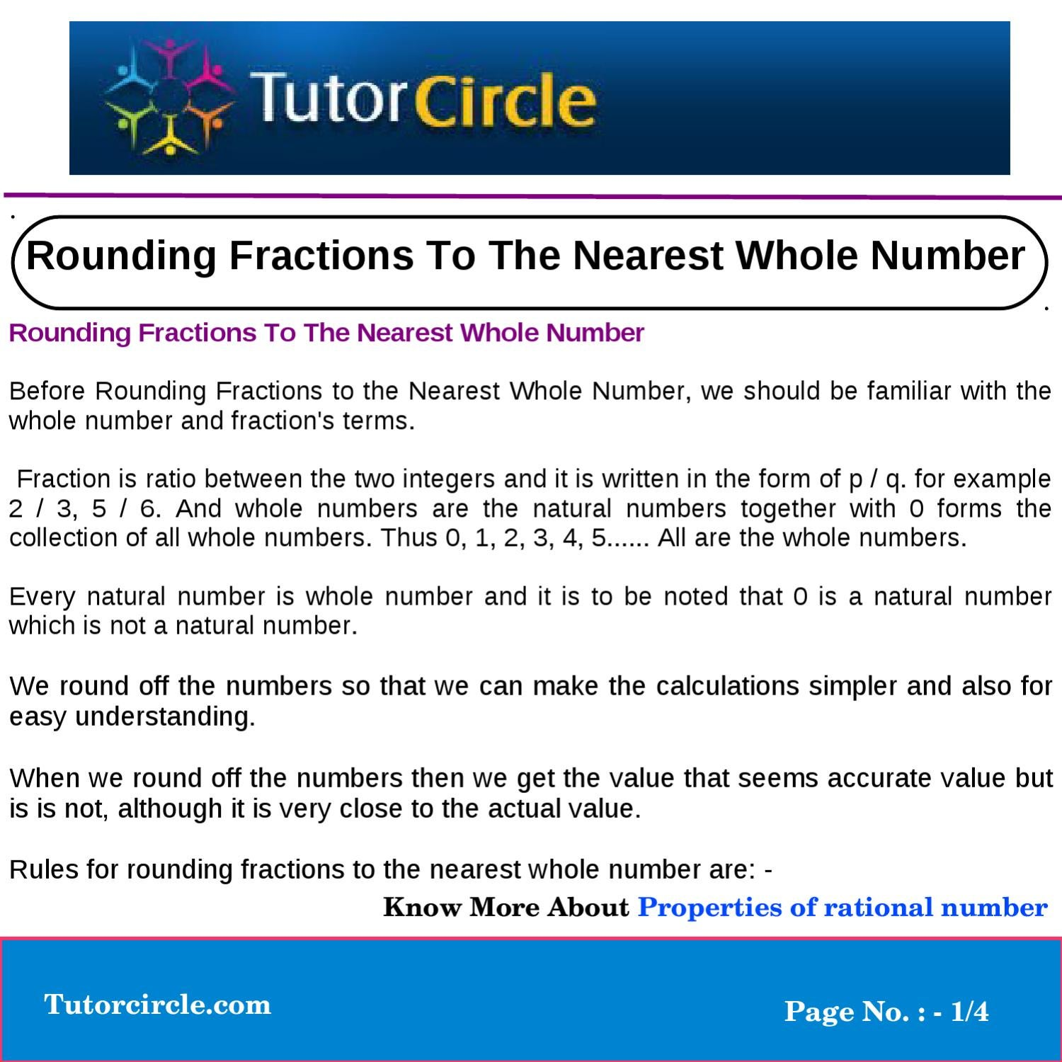 Rounding Fractions To The Nearest Whole Number By Yatendra Parashar