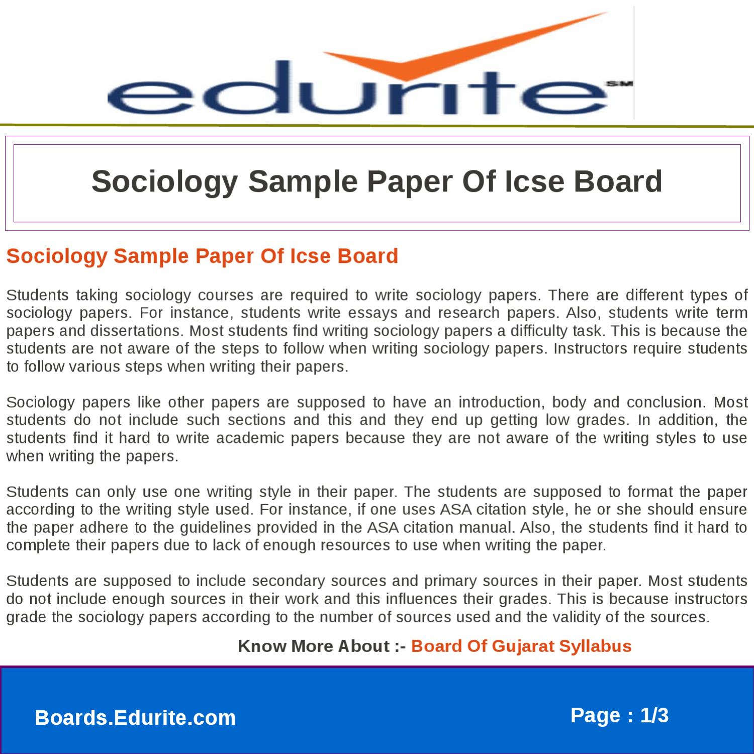 Term papers in sociology