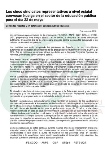 Csif comunicado huelga educaci n 22 mayo 2012 by csif for Csif ensenanza exterior