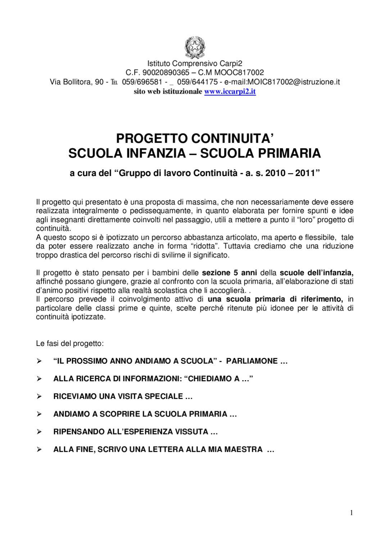 Amato Progetto continuita infanzia primaria Carpi 2 by Monica Battini  QK47