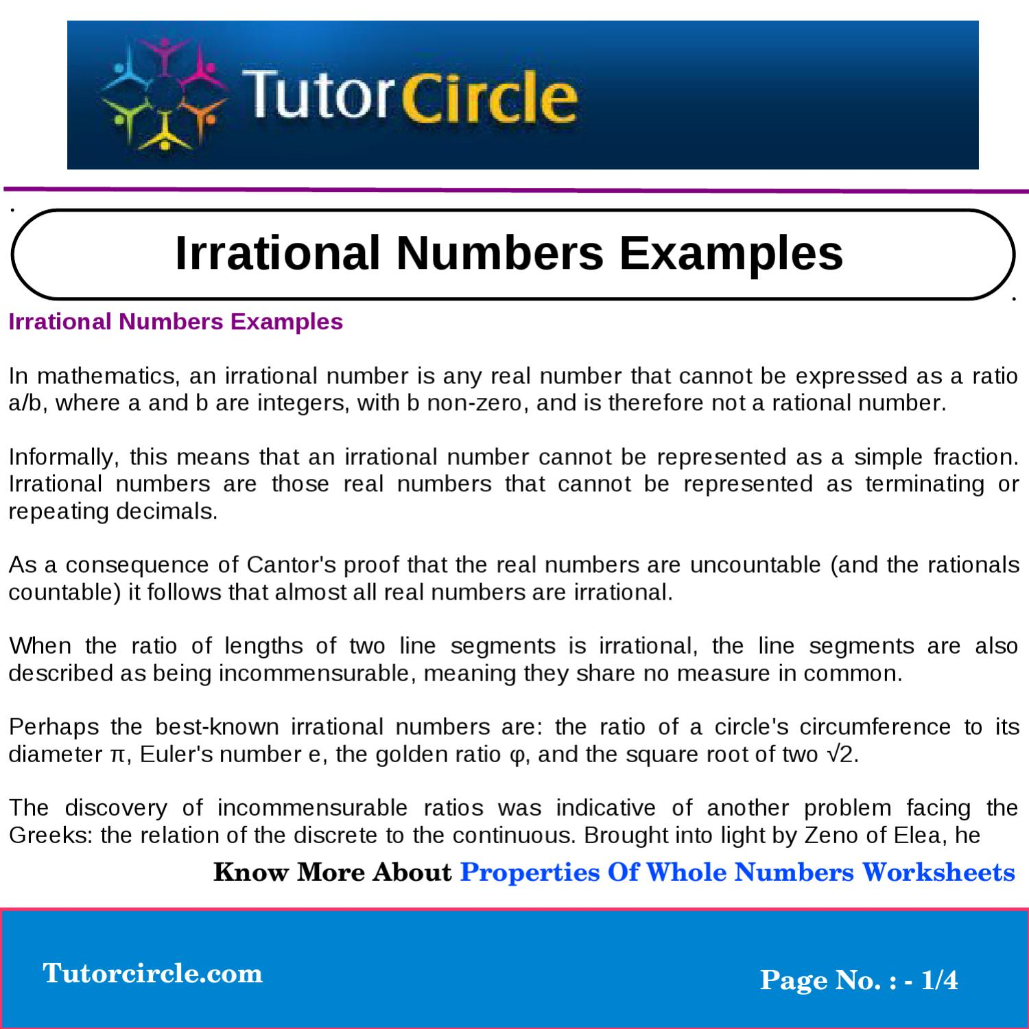irrational numbers examples by yatendra parashar - issuu