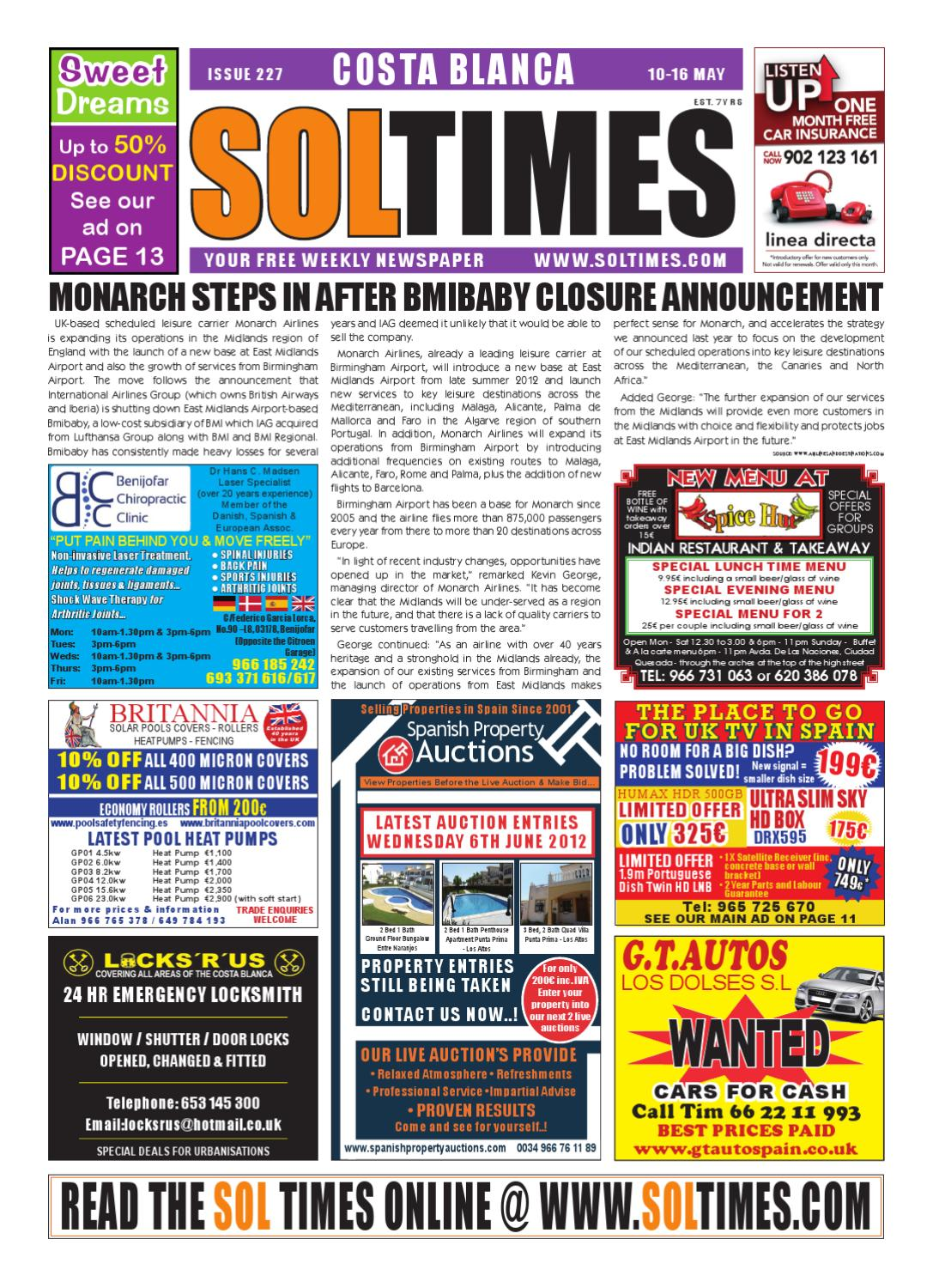 Sol Times Newspaper Issue 227 Costa Blanca Edition By Nigel