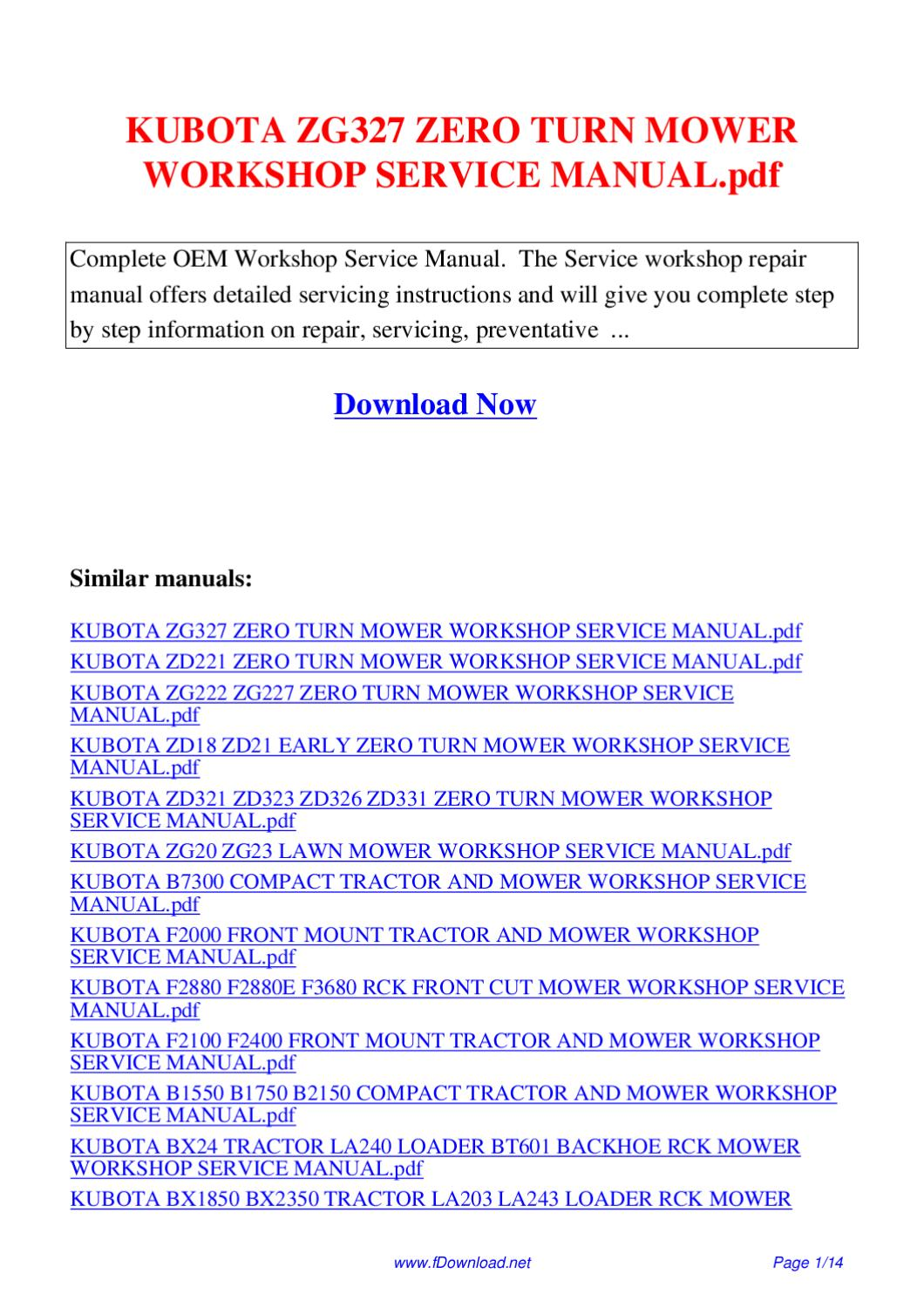 Kubota Zg327 Zero Turn Mower Workshop Service Manual Pdf