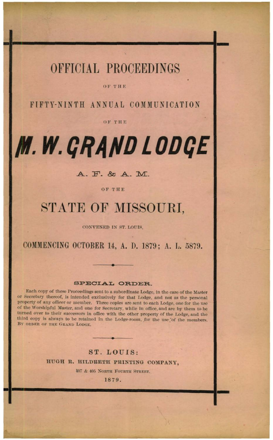 1879 Proceedings - Grand Lodge of Missouri by Missouri Freemasons