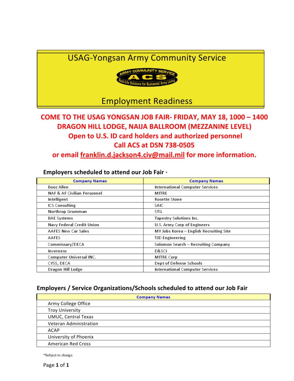 Employers USAG Yongsan Job Fair by Yongsan ACS - issuu