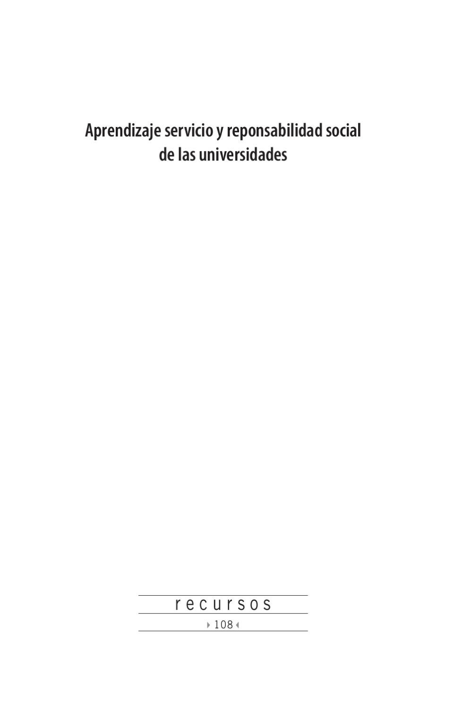 Aprendizaje Servicio y responsabilidad social en las universidades ...