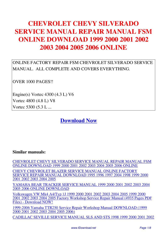 Chevrolet Chevy Silverado Service Manual Repair Manual Fsm