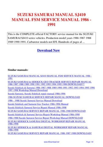Suzuki Samurai Manual Sj410 Manual Fsm Service Manual 1986 1991 By Giler Kong Issuu