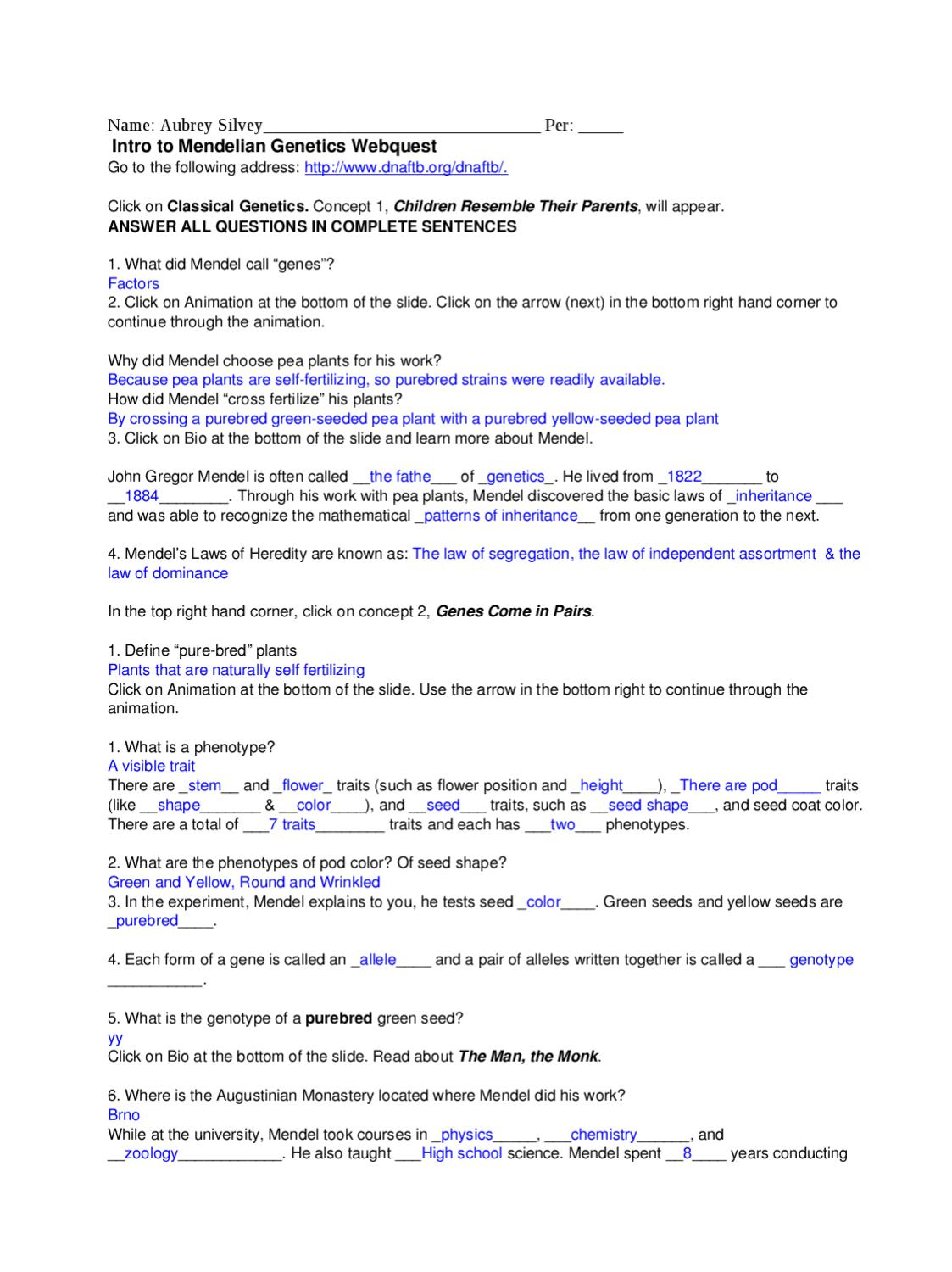 worksheet Gregor Mendel Worksheet genetics webquest intro by aubrey lee issuu