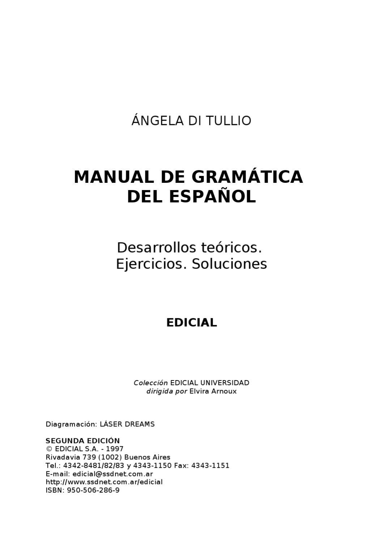 Manual De Gramática Del Español Angela Di Tullio By José