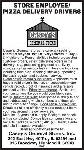 Caseys Hiring Pizza Drivers By Edwardsville Publishing Issuu