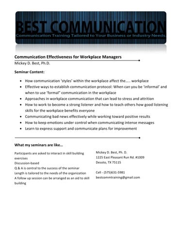 Communication Effectiveness for Workplace Managers by Christa