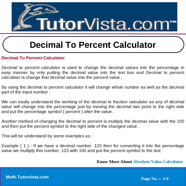 Decimal to percent calculator by tutorvista team issuu biocorpaavc Gallery
