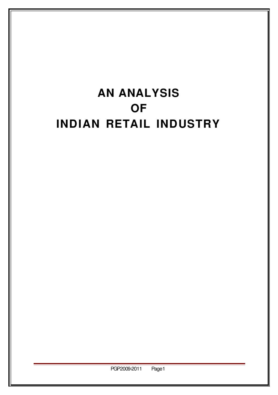 AN ANALYSIS OF INDIAN RETAIL INDUSTRY by Sanjay Gupta - issuu