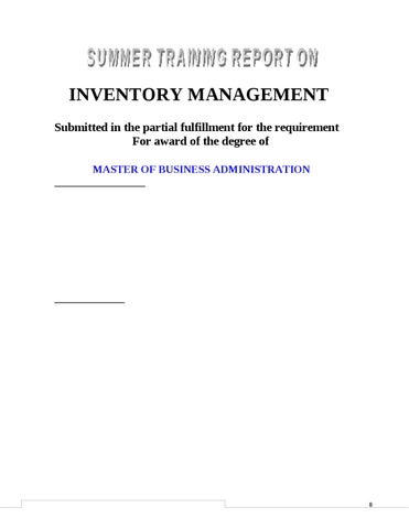 PROJECT REPORT ON INVENTORY MANAGEMENT by Sanjay Gupta - issuu