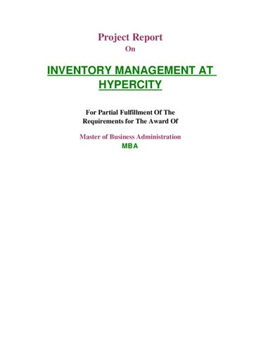 Project Report On Inventory Management At Hypercity By Sanjay Gupta