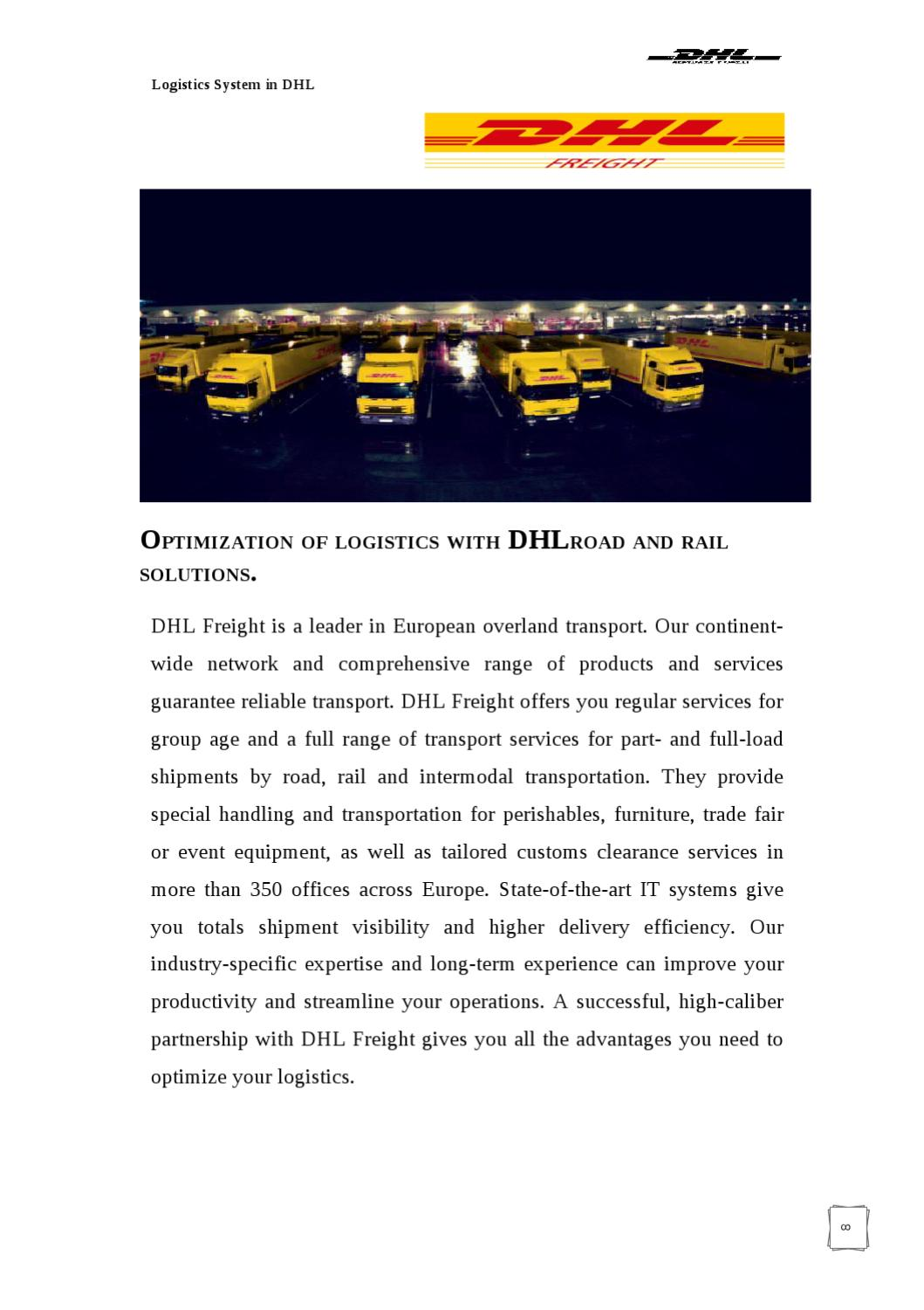 PROJECT REPORT ON LOGISTCS SYSTEM IN DHL by Sanjay Gupta - issuu