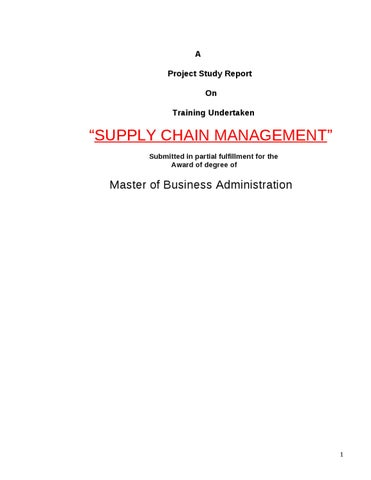 Project Report on SUPPLY CHAIN MANAGEMENT by Sanjay Gupta - issuu