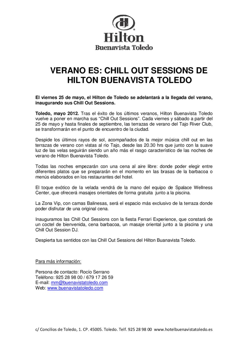 Verano Es Chill Out Sessions De Hilton Buenavista Toledo By