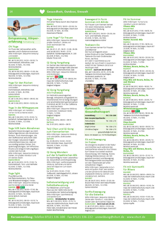 Sommerprogramm der Volkshochschule Reutlingen by Volkshochschule ...