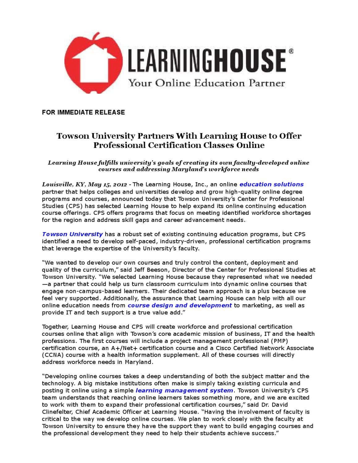 Towson University Partners With Learning House To Offer Professional